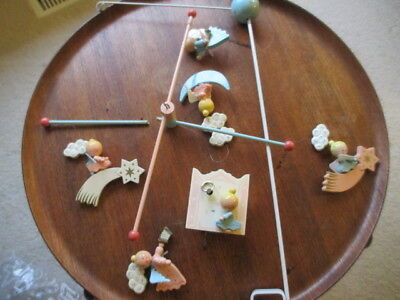 Vintage Baby Mobile wooden *broken *flaw Original by IRMI music box wind up work