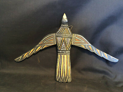 Old Vtg Collectible Tribal Hanging Winged Carved Wooden Bird W/ Removable Wings