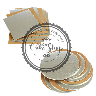 Cake board 4 to 12  inches THIN card boards Silver Gold Round Square