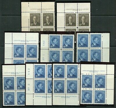 Weeda Canada 285/288 VF MNH lot of 10 different PBs, KGVI 1949 issue CV $89.48