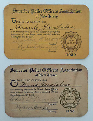 1938-39 Superior Police Officers Association New Jersey Signed Membership Cards!