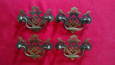 Set of 4 Vintage Brass Plated Drawer Pulls, Chippendale Style