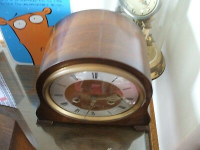 Vintage Smiths Enfield British Art Deco 8 Day Striking Mantle Clock Vg Condition