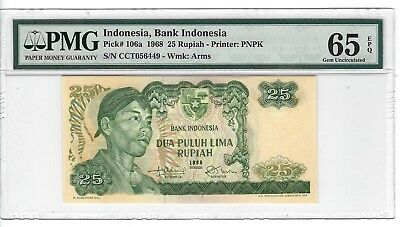 P-106a 1968 25 Rupiah, Bank of Indonesia, PMG 65EPQ Nice!