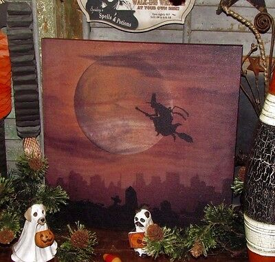 Primitive Antique Vtg Style Retro Halloween Night Flying Witch Moon Canvas Sign
