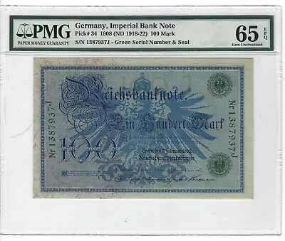 P-34 1908 100 Mark Germany Imperial Bank Note  PMG 65EPQ GEM!