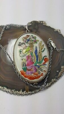 Antique Asian Chinese Dynasty Shard Pottery Necklace Figurine Silver Tone