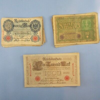Germany 1910-1919: 20, 50 & 1000 Mark Banknotes, Lot of Twenty-Five (25) in All