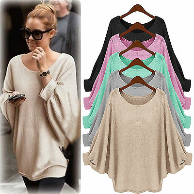 Damen Bluse Sweatshirt Langarm Strick Pullover Tops Locker Tunika Sweater Pulli