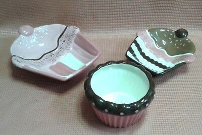 Happy Valentines Day CUPCAKE Shaped Dish 3 piece lot xoxo bowl Pink Brown