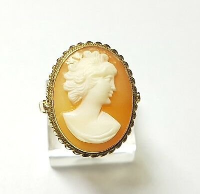 Antique Original 18k Gold &  Carved Shell Lady Cameo Ring 1940s