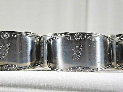 "Custom Craft ""J"" Napkin Rings Stainless Steel Silver-tone set of 15 - Momogram J"
