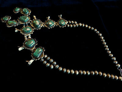 Sterling Silver  Royston Turquoise Squash Blossom Necklace