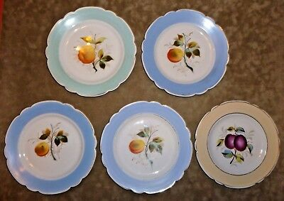Set of 5 Antique or Vintage Hand Painted Plates Fruit French Country Shabby Chic