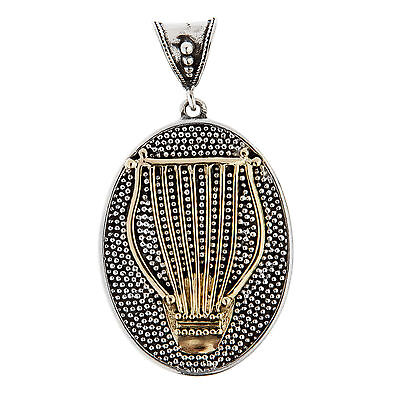 Savati ~ Ancient Greek Lyre - Solid Gold & Sterling Silver Pendant