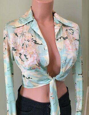 VTG 70s Boho Hippy Crop Top Blouse Disco Pointed collar sz M Shiny Poly Satin