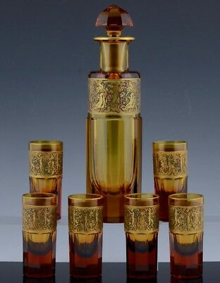 Fantastic Art Deco Moser Karlsbad Amazon Frieze Gold Gilt Decanter & Glasses N/r