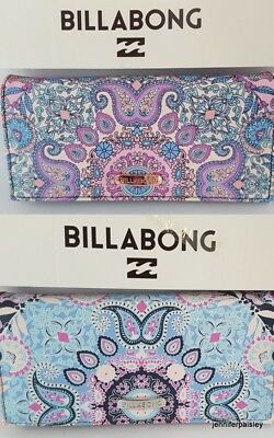 BILLABONG WALLET PURSE CLUTCH NEW DEVOTION Aquatic or Pink Faux Leather Trifold