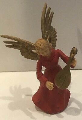 Vintage Angel Musician Plastic Christmas Ornament Made in Hong Kong