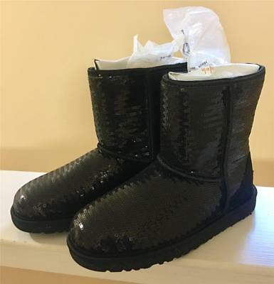 a54bd83899d NWOB GIRLS BLACK sequin Classic Short Sparkles Uggs Ugg boots, size 5 Youth