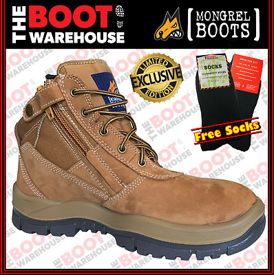 Mongrel 261070 'NEW RUST' Work Boots. Steel Toe Safety. Zip-Sider, PRESS STUD!