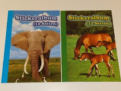 2 x A5 Stickeralbum Stickerheft Sticker Album NEU Aufkleber Leer Elefant Pferde