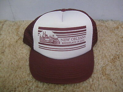 f920d5ce072 Vintage 1980 s-90 s New Orleans Birthplace Of Jazz Snapback Trucker Mesh Hat