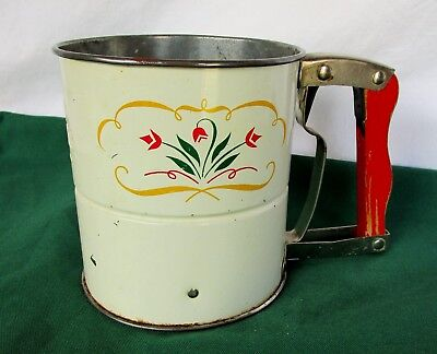 Vintage Androck Flour Sifter Hand i Sift Made USA w/ Tulip Design Wood Handle