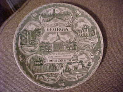 Georgia The Empire State of the South Vintage Green Scenic Plate
