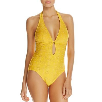 a65066d913 Kate Spade Womens Yellow Eyelet Halter Plunge One-Piece Swimsuit L BHFO 3130