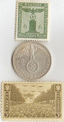 -*WW2 -  SILVER  - *us   and - *german coins / stamps...+