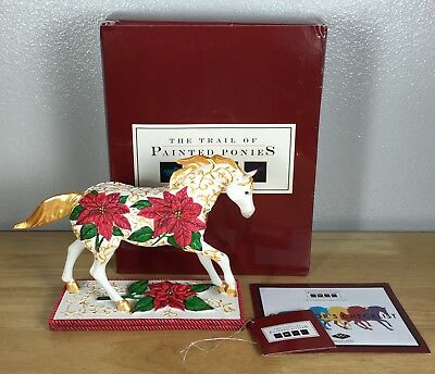 POINSETTIA PONY 1E 7278 Trail of Painted Ponies 2007 NEW Retired Christmas Flaw