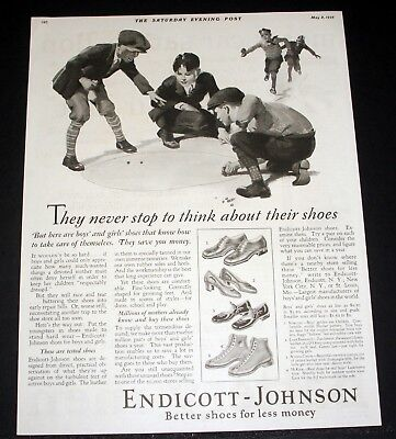 1926 Old Magazine Print Ad, Endicott-Johnson, Better Shoes, Marble Players Art!