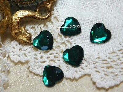 (252)*costume Makers Sellout*flat Back Rhinestone*green *hearts*new!*