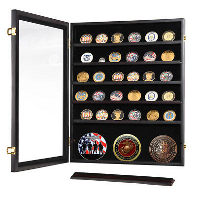 Military Challenge Coin Display Casino Chip Shadow Box Cabinet Wood Case Frame