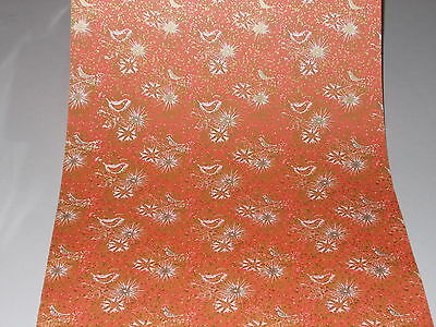 Vtg Christmas Dept. Store Wrapping Paper Gift Wrap Gold Bird On Red 2 Yards Nos