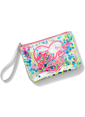Justice Girl's 'LIVE JUSTICE' Shaky Sequin Wristlet NWT