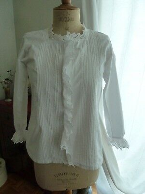 beau chemisier ancien corsage 1900 petit plis broderie anglaise imperfection
