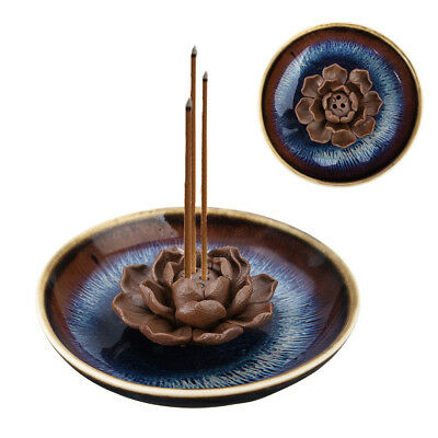 Lotus Ceramic Incense Burner 3 Stick Holder Tray Ash Catcher Coils Base Plate US
