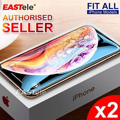 2x EASTele Apple iPhone XS Max XR 8 7 6s Plus 5s Tempered Glass Screen Protector