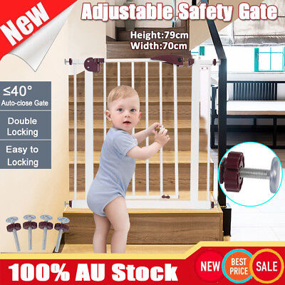 79CM Height Baby Pet Child Baby Safety Security Hide-away Gate Stair Barrier AU