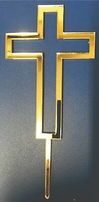 Cross Acrylic Cake Topper GOLD, SILVER, BLACK, or WHITE
