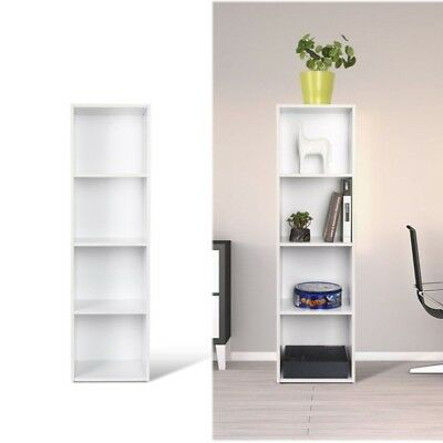 White wood bookcase bookshelf dianplay conor book cabinet storage 4 tier Decor