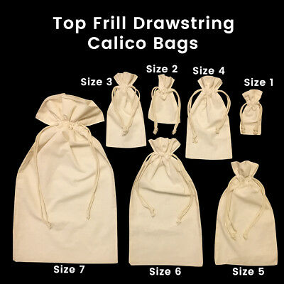 Calico Drawstring Bags Gift Tote Calico Drawstring Jewellery Bags 5-200 Bags
