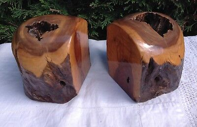 Askari South African Natural Hardwood Bookends ~ Shabby Chic