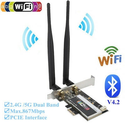 867Mbps Wireless Bluetooth Dual-Band PCI-E WiFi Card 802.11AC For Desktop PC