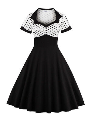 Women 50s 60s Swing Polka Dot Vintage Retro Housewife Pinup Evening Party Dress
