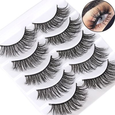 5Pairs 3D Messy Long False Eyelashes Volume Wispy Fluffy Lashes Fake Eye Lashes