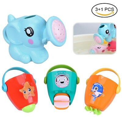 4PCS Baby Bath Toys Set Water Spray Toy Pour Buckets Safety Child Bath Toy