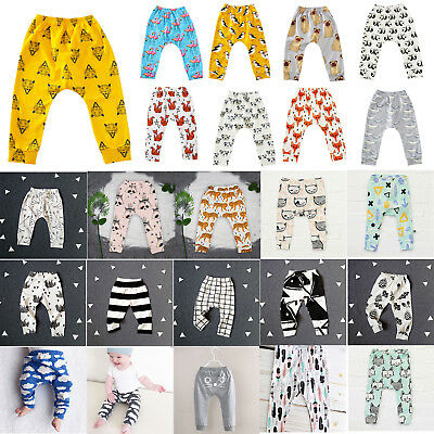 Toddler Boys Girls Harem Long Joggers Cartoon Pants Trousers PP Leggings Bottoms